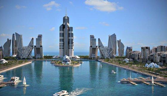 بلندترین آسمان خراش جهان در دریای خزر و جنوب غربی باکو