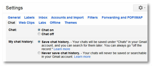 Gtalk web settings