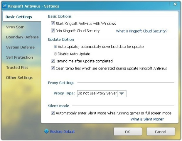 Kingsoft Antivirus 2012 Settings